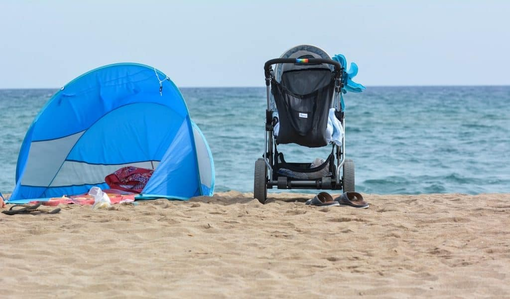 Popup tent with beach cart