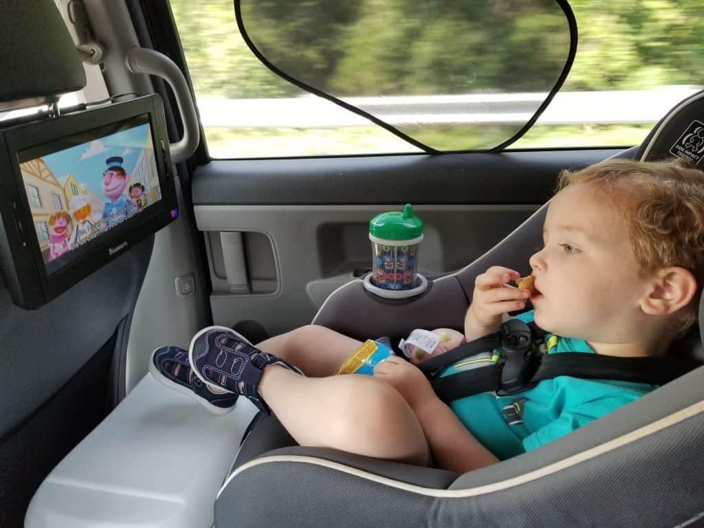 Toddler Watching Movie in Car