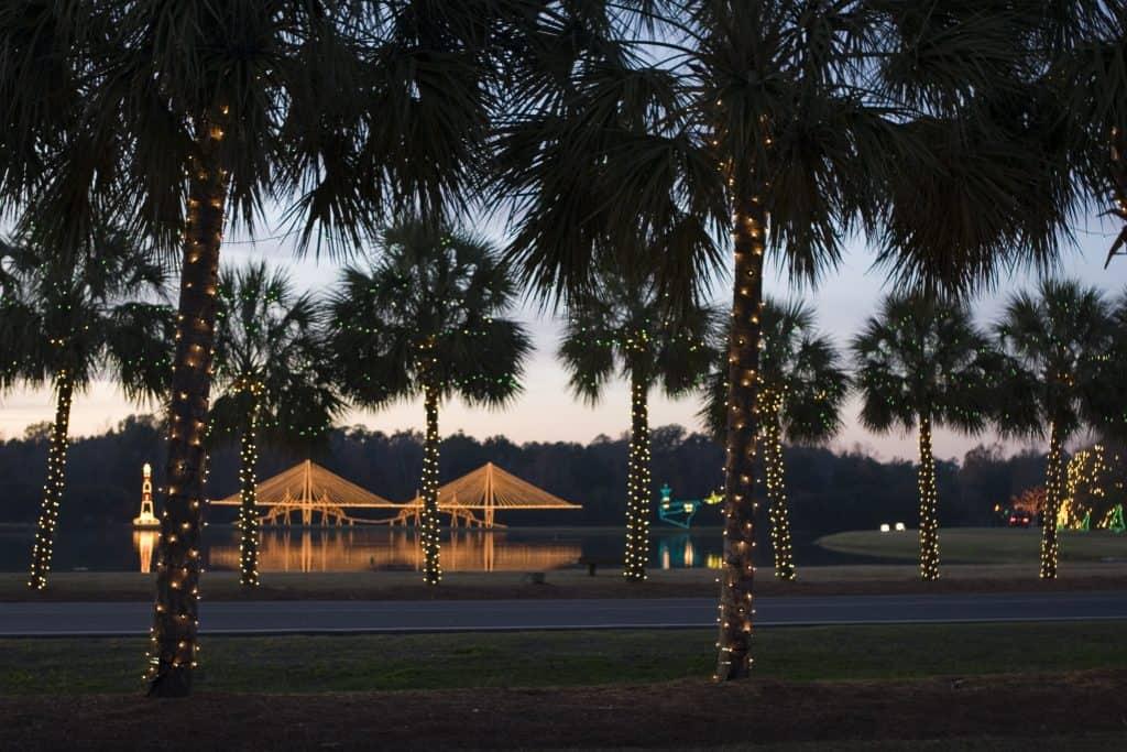 Charleston SC Festival of Lights Palm Trees and Bridge Light Display